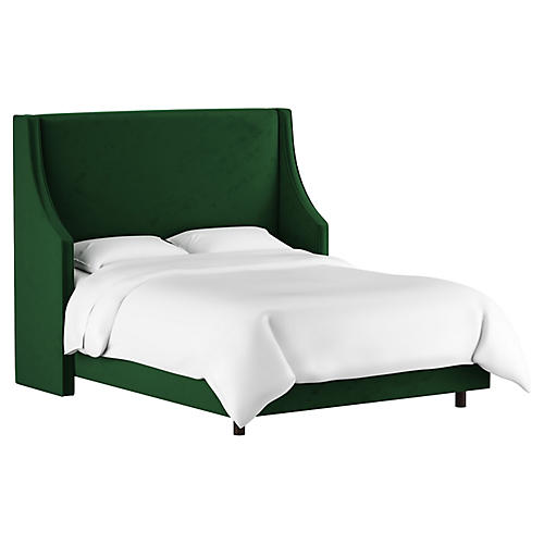 Davis Wingback Bed, Emerald Velvet