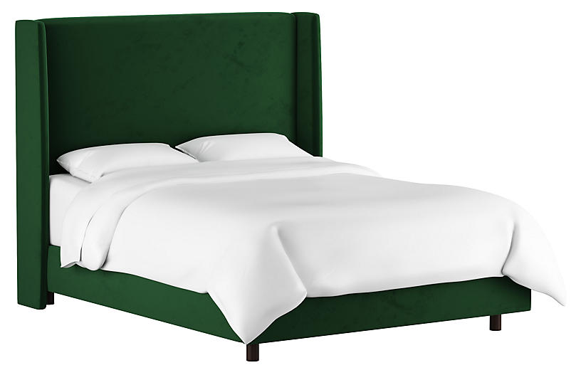 Kelly Wingback Bed, Emerald Velvet