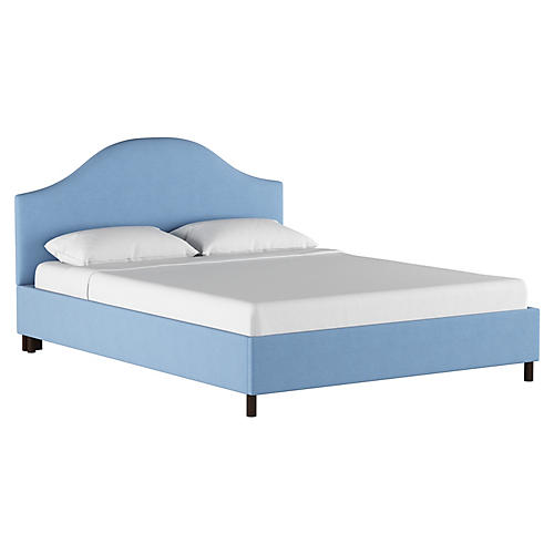 Libby Platform Bed, Light Blue Linen