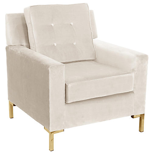 Winston T Leg Club Chair, Cream Velvet
