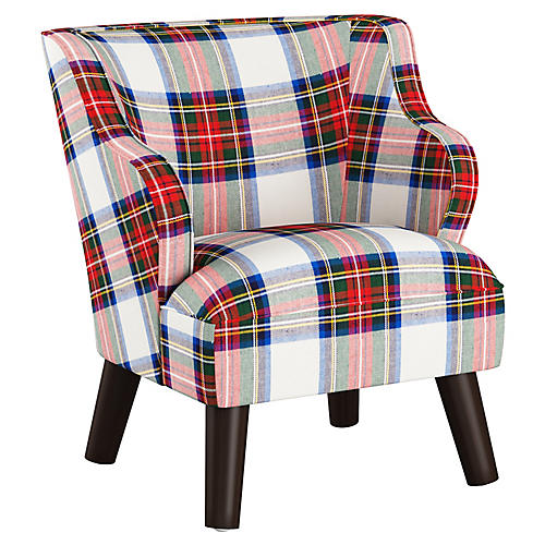 Kira Kids' Accent Chair, White/Multi