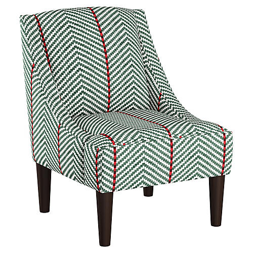 Quinn Swoop-Arm Accent Chair, Green/Red