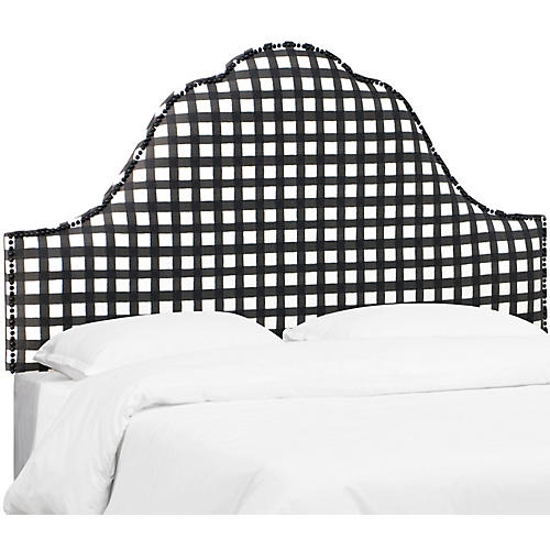James Nail-Button Headboard, Black Linen