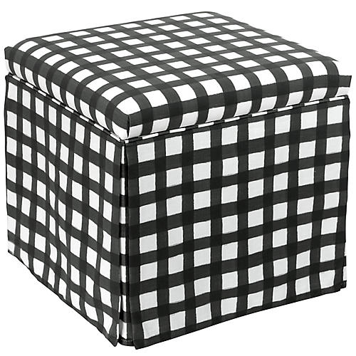 Anne Skirted Storage Ottoman, Black/White Linen