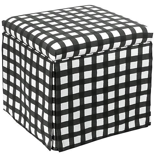 Anne Skirted Storage Ottoman, Black/White Linen