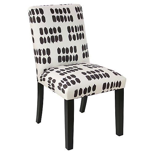 Shannon Side Chair, Black/White Linen