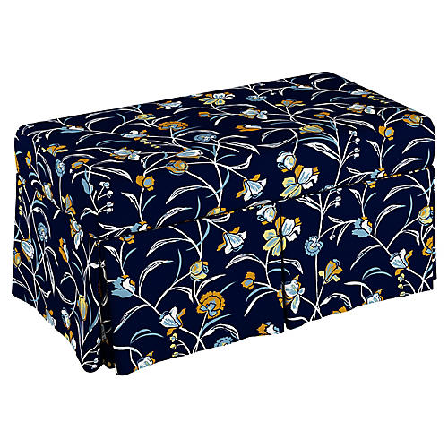 Hayworth Skirted Storage Bench, Navy Floral Linen