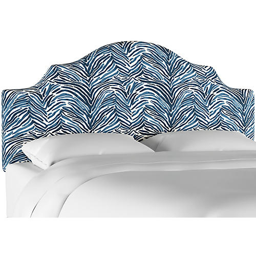 Natalie Notched Headboard, Blue Linen