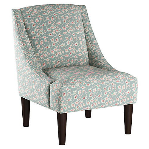 Quinn Swoop-Arm Chair, Seafoam Linen