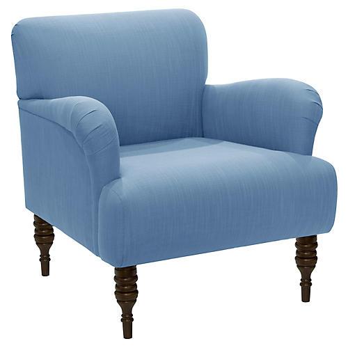 Nicolette Club Chair, Blue Linen
