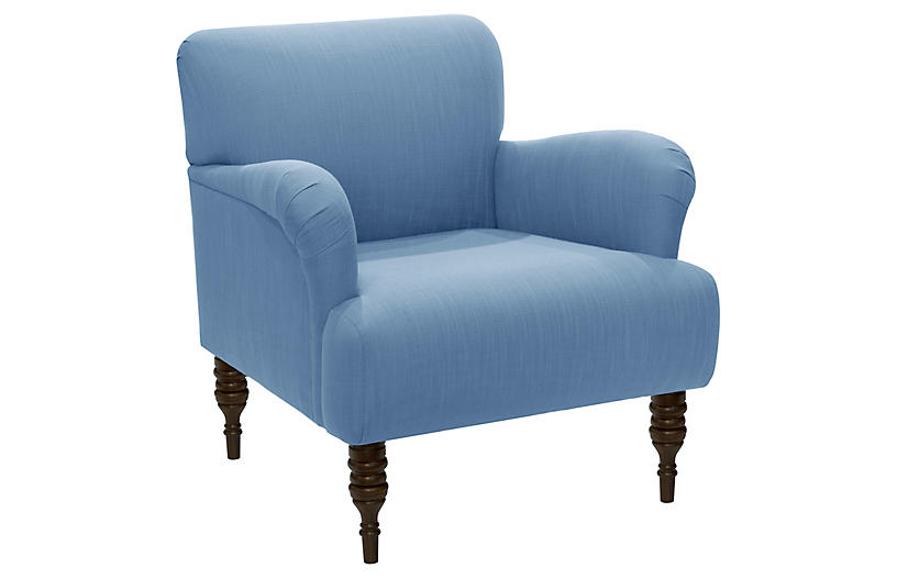 Nicolette Club Chair, Blue Linen