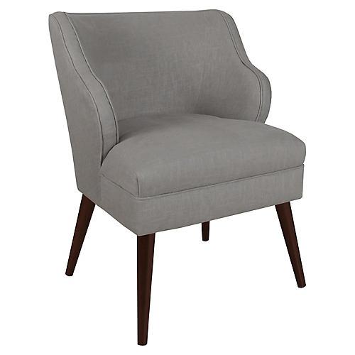 Kira Accent Chair, Gray Linen