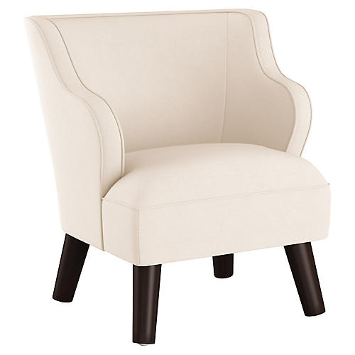 Kira Kids' Accent Chair, Talc Linen