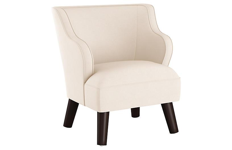 Kira Kids' Accent Chair, Talc Linen