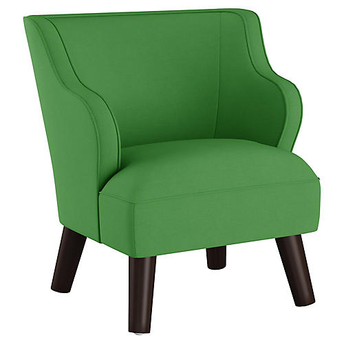 Kira Kids' Accent Chair, Green Linen
