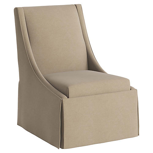 Jody Skirted Swoop-Arm Side Chair, Sand Linen