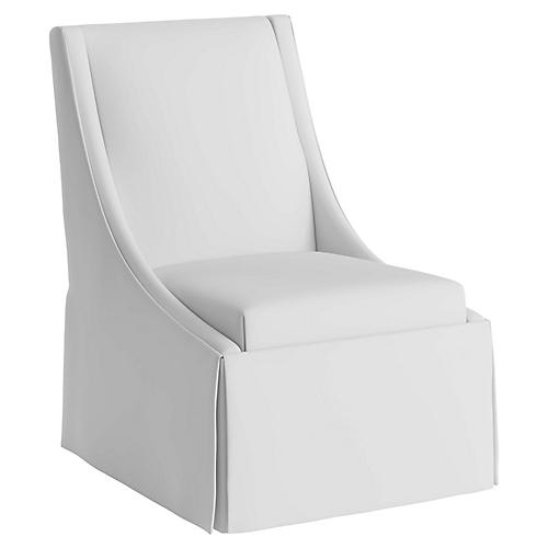 Jody Skirted Swoop-Arm Side Chair, White