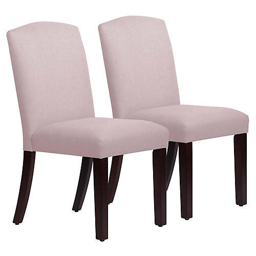 S/2 Marie Side Chairs, Lilac Linen