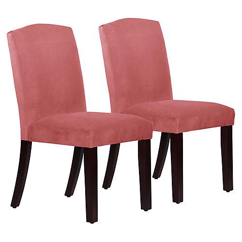 S/2 Marie Side Chairs, Rose Velvet
