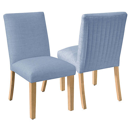 S/2 Erin Pleated Side Chairs, French Blue Linen