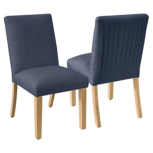 S/2 Erin Pleated Side Chairs, Navy