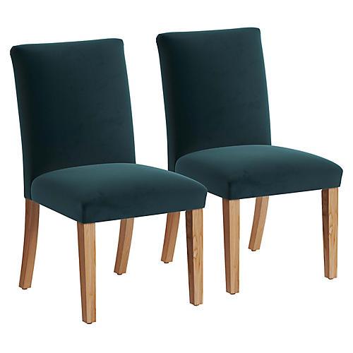 S/2 Erin Pleated Side Chairs, Peacock Velvet
