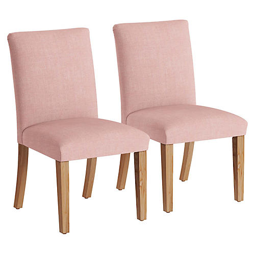 S/2 Erin Pleated Side Chairs, Blush