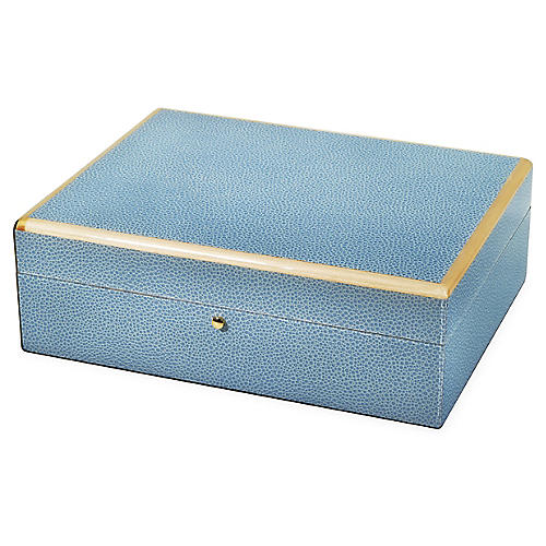 Panola Faux-Shagreen Jewelry Box, Pastel Blue