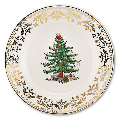 S/4 Christmas Tree Salad Plates, Gold