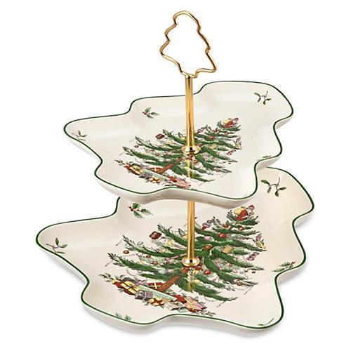 Christmas Tree Sculpted 2-Tier Server