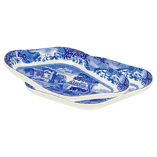 Blue Italian Pickle Dishes, Set of 2