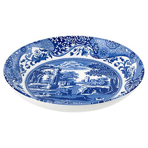 S/4 Italian Pasta Bowls, Blue/White