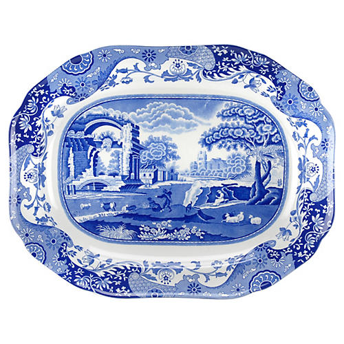 Blue Italian Medium Oval Platter