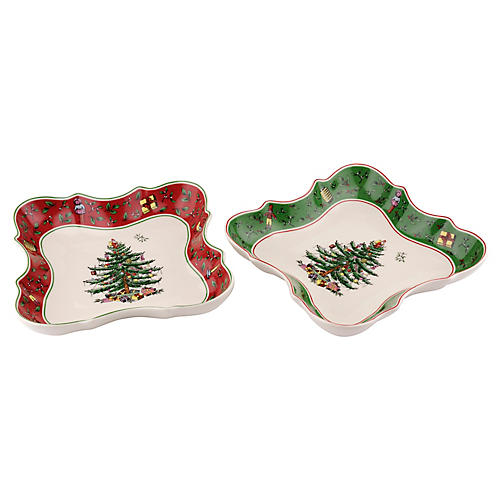 S/2 Spode Devonia Dishes, Green/Red