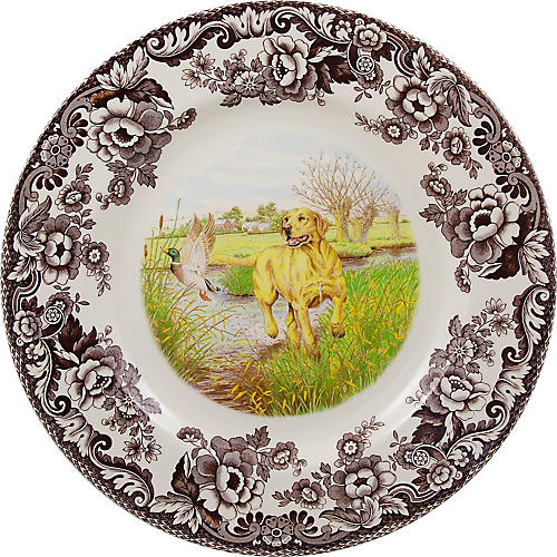 Woodland Labrador Dinner Plate, White/Multi