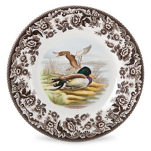 Woodland Mallard Salad Plate, White/Multi