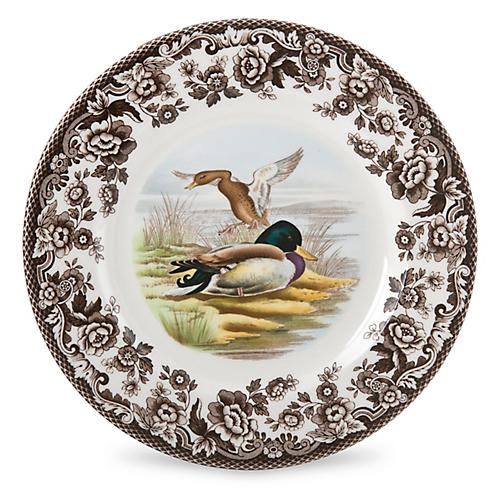 Woodland Mallard Salad Plate, White/Multi
