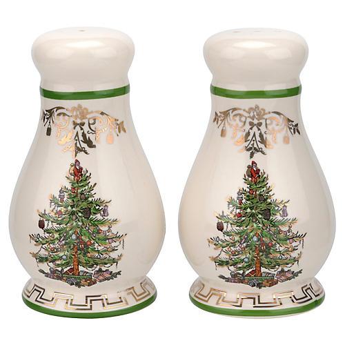 S/2 Christmas Tree S & P Shakers, Ivory/Multi