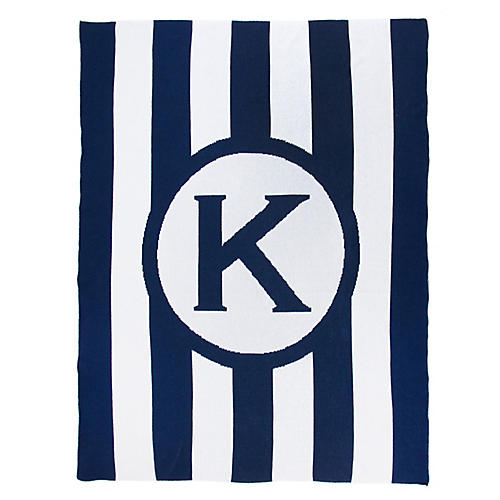 Caskata Monogram Stripe Cotton Throw, Navy