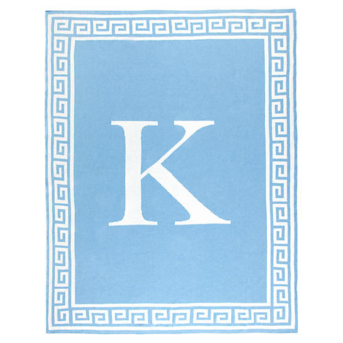 Greek Key Monogram Cotton Throw, Light Blue