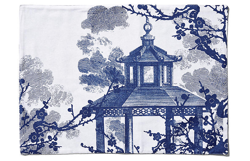 S/4 Quince Place Mats, Blue/White