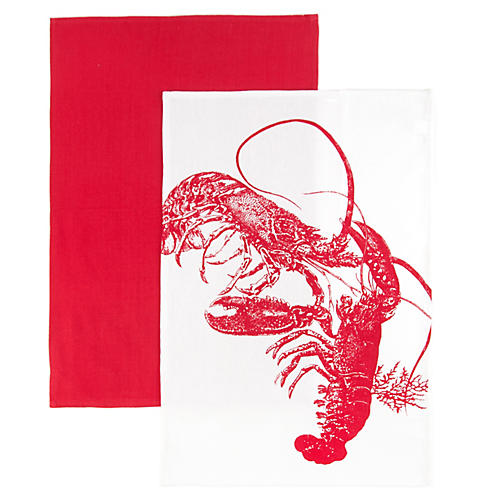 S/2 Lobster Kitchen Towels, Red/White