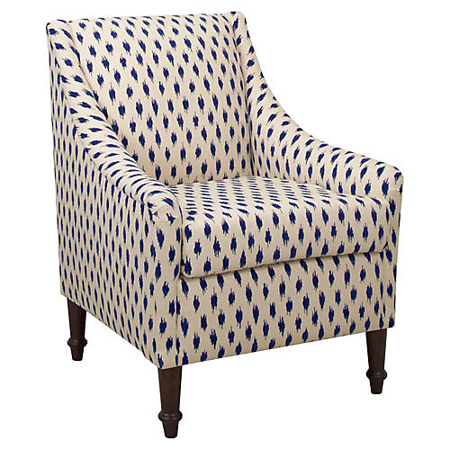 Holmes Accent Chair, Navy Dots