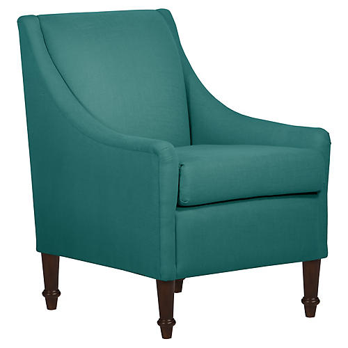 Holmes Accent Chair, Teal Linen