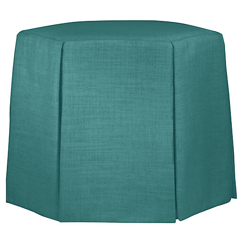 Savannah Skirted Ottoman, Teal Linen
