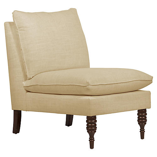 Daphne Slipper Chair, Sand Linen
