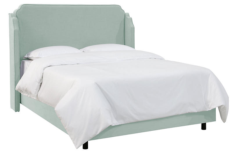 Aurora Wingback Bed, Mint Linen