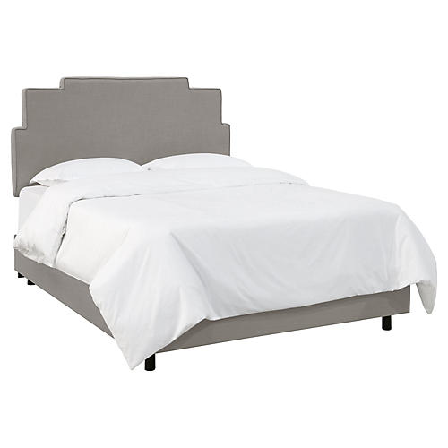 Paxton Bed, Gray Linen