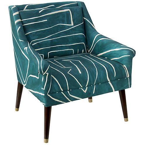 Carson Accent Chair, Teal/Sand
