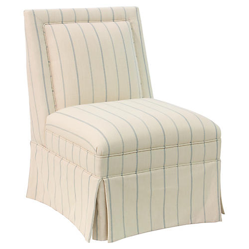 Greer Skirted Slipper Chair, Pommes